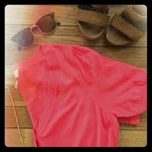 LOFT 🧡Coral short sleeve Cardigan🧡